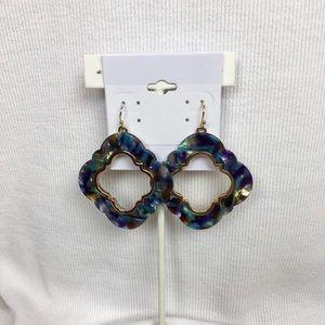 Beautiful blue/purple oval in shape earrings